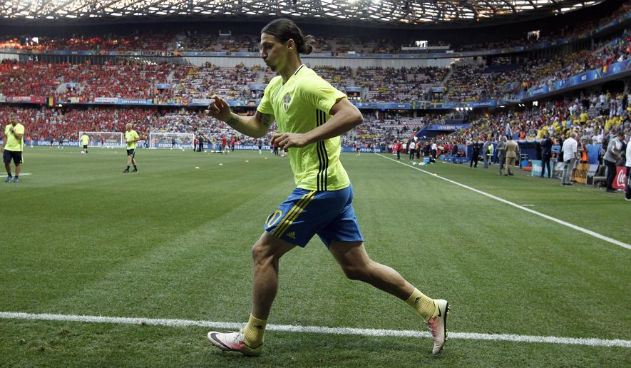 Sweden's Zlatan Ibrahimovic runs prior the Euro 2016 Group E soccer match between Sweden and Belgium at the Allianz Riviera stadium in Nice, France, Wednesday, June 22, 2016. (AP Photo/Thanassis Stavrakis)
