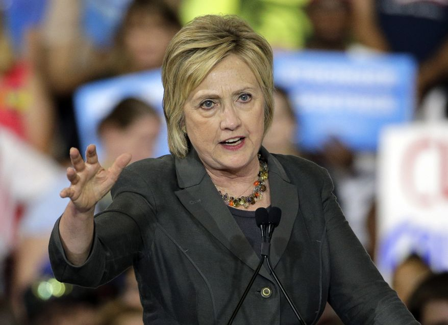 Mrs. Clinton blamed the ruling not on the court but on Senate Republicans, who have refused to hold confirmation hearings and a vote on President Obama's high court nominee, U.S. Appeals Court Judge Merrick Garland. (Associated Press)
