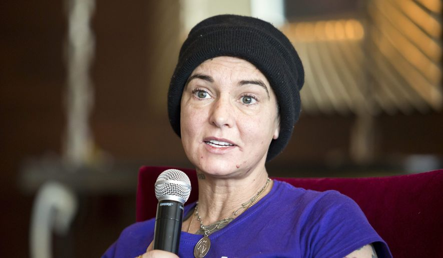 Irish singer-songwriter Sinead O'Connor attends a press event during the Budapest Spring Festival at a hotel in Budapest, Hungary, on April 22, 2015. On June 24, 2016, she took to Facebook to rejoice in Britain's decision to leave the EU, and to deny rumors she was going to commit suicide. (Associated Press) **FILE**