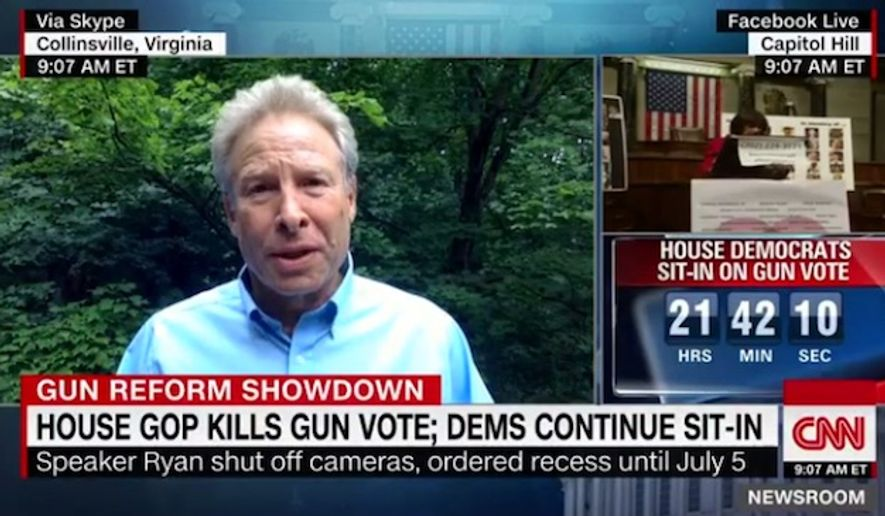 """Andy Parker, the father of the Virginia reporter who was shot to death on live television last year, charged Thursday that the """"real terrorists"""" are the people who pledge their """"allegiance"""" to the National Rifle Association. (CNN)"""