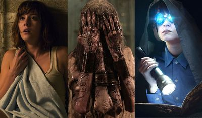 """From left; Mary Elizabeth Winstead as Michelle in """"10 Cloverfield Lane,"""" a keeper of the dead in """"The Other Side of the Door"""" and Jaeden Lieberher as Alton Meyer in """"Midnight Special."""""""
