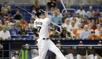 Miami Marlins' Giancarlo Stanton follows through on a solo home run against the Chicago Cubs in the fourth inning of a baseball game, Thursday, June 23, 2016, in Miami. (AP Photo/Alan Diaz) **FILE**
