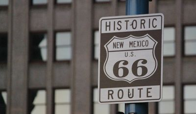This June 21, 2016 photo shows one of the signs along historic Route 66 in downtown Albuquerque, N.M.  (AP Photo/Susan Montoya Bryan) **FILE**
