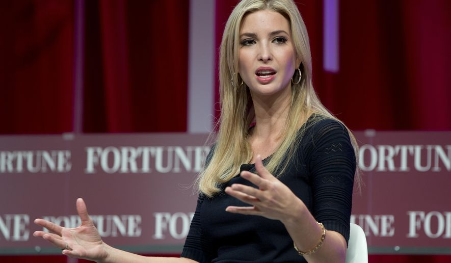 FILE- In this Oct. 14, 2015, file photo, Ivanka Trump, daughter of Republican presidential candidate Donald Trump, founder and CEO, Ivanka Trump Collection and executive vice president Development and Acquisitions The Trump Organization, speaks at the Fortune Most Powerful Women Summit in Washington. A federal lawsuit filed by Italian shoe company Aquazzura on June 21, 2016, claims Ivanka Trump is selling a knockoff of one of their shoe designs for her fashion collection. (AP Photo/Carolyn Kaster, File)