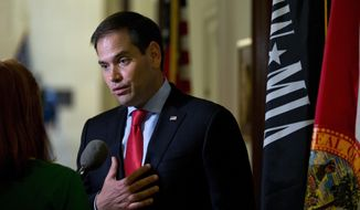 Sen. Marco Rubio, R-Fla., speaks to media outside his office on Capitol Hill in Washington, Wednesday, June 22, 2016. Former Republican presidential candidate Marco Rubio announced he will run for re-election to the Senate from Florida, reversing his retirement plans under pressure from GOP leaders determined to hang onto his seat and Senate control. (AP Photo/Carolyn Kaster)