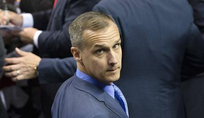In this April 18, 2016, file photo, Corey Lewandowski, then-campaign manager for Republican presidential candidate Donald Trump, appears at a campaign stop at the First Niagara Center in Buffalo, N.Y. (AP Photo/John Minchillo, File)