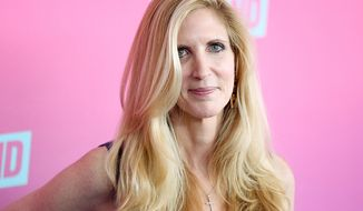 """Ann Coulter - """"We have been lied to for 30years about immigration. That's why Trump is striking this chord. He's attractive. He's tall. He's hilariously funny. I think he could be not only a nominee who could win but a third party candidate who would win."""" (Photo by Rich Fury/Invision/AP)"""