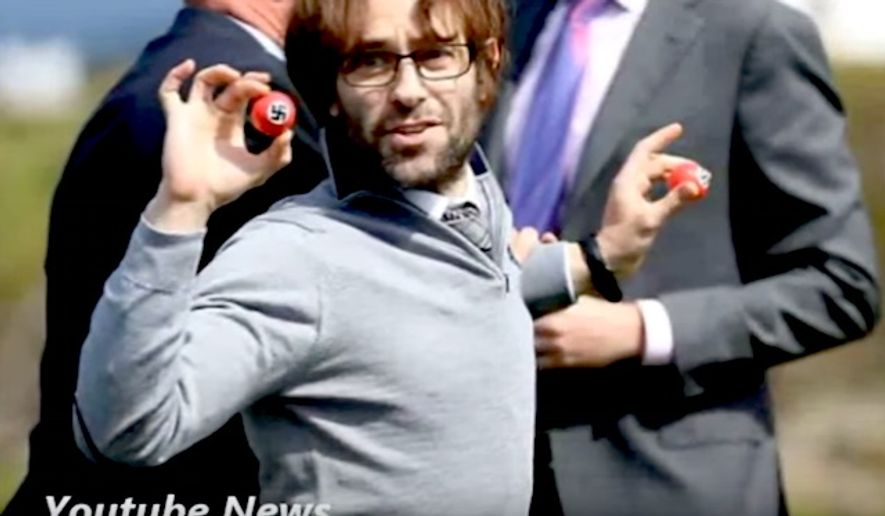Comedian Lee Nelson crashed a press conference by Donald Trump in Turnberry, Scotland, by holding up Nazi-inspired golf balls. (YouTube News)