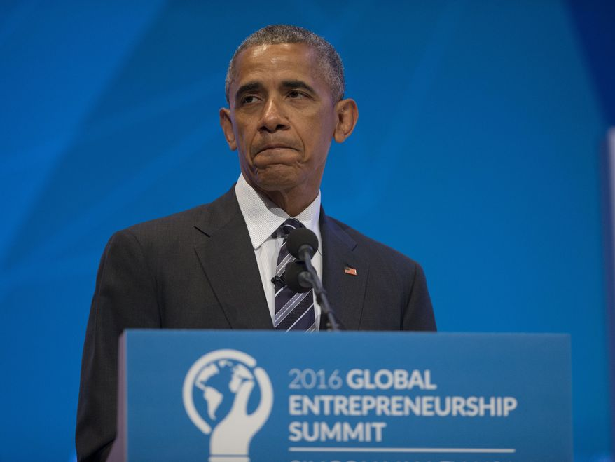 President Barack Obama pauses as he begins to speak at the Global Entrepreneur Summit at Stanford University, Friday, June 24, 2016, in Stanford, Calif. Obama gave opening remarks on Britain voting to leave the 28-nation European Union. (AP Photo/Pablo Martinez Monsivais)