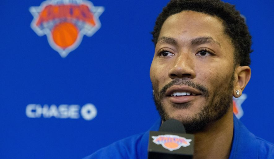 Derrick Rose speaks during a news conference at Madison Square Garden, Friday, June 24, 2016, in New York. The New York Knicks introduced Rose, the former NBA basketball MVP they acquired from the Chicago Bulls. (AP Photo/Mary Altaffer)