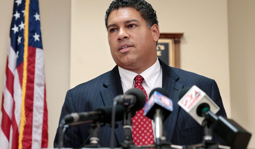 Dane County District Attorney Ismael Ozanne speaks at a press conference at the Dane County Courthouse in Madison, Wis., Friday, June 24, 2016. Genele Laird, an 18-year-old black woman whose arrest sparked protests in Madison this week has the option to go through a restorative justice process instead of facing criminal charges, Dane County District Attorney Ismael Ozanne announced Friday.(Michael P. King/Wisconsin State Journal via AP) MANDATORY CREDIT