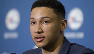 Philadelphia 76ers NBA basketball draft pick Ben Simmons speaks during a news conference in Philadelphia, Friday, June 24, 2016. (AP Photo/Matt Rourke)