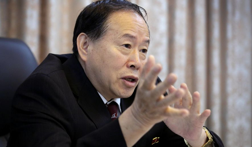 Han Song Ryol, director-general of the department of U.S. affairs at North Korea's Foreign Ministry speaks during an interview with The Associated Press on Friday, June 24, 2016, in Pyongyang, North Korea. Han told The Associated Press on Friday that his country is now a nuclear threat to be reckoned with, and Washington can expect more nuclear tests and missile launches like the ones earlier this week as long as it attempts to force his government's collapse through a policy of pressure and punishment. (AP Photo/Wong Maye-E)