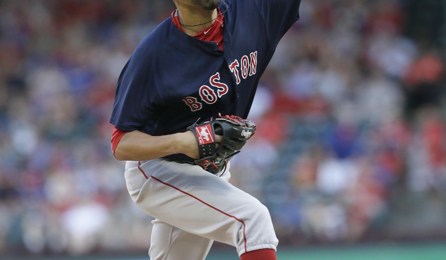 Boston Red Sox starting pitcher David Price throws during the first inning of a baseball game against the Texas Rangers in Arlington, Texas, Friday, June 24, 2016. (AP Photo/LM Otero)