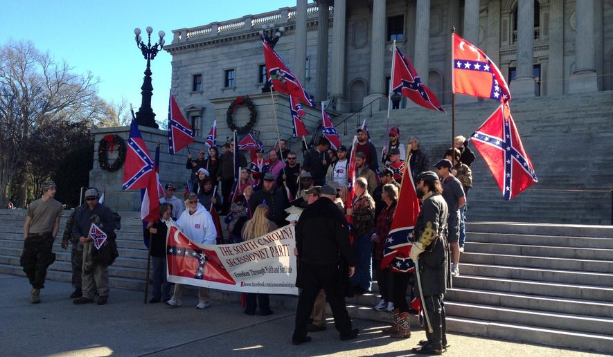 The South Carolina Secessionist Party holds a rally at the Statehouse in Columbia, S.C., on Dec. 20, 2015. (Associated Press) **FILE**