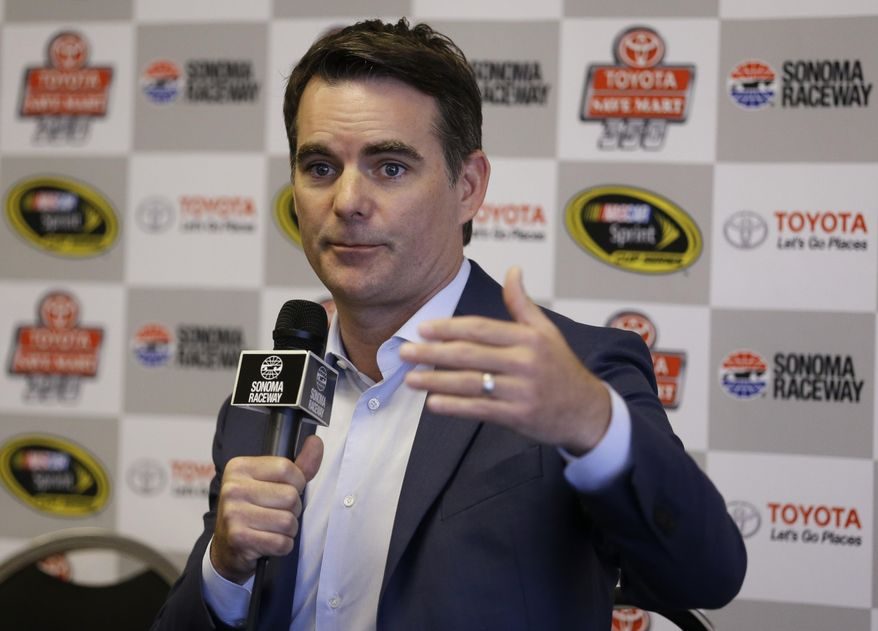 "Jeff Gordon gestures during a media conference prior to the qualifying session for the NASCAR Sprint Cup Series auto race on Saturday, June 25, 2016, in Sonoma, Calif. Jeff Gordon is open to succeeding Michael Strahan as Kelly Ripa's new ""Live"" co-host, so long as he could continue his new job as a NASCAR analyst. Gordon is calling his final race of the season Sunday for Fox Sports and then will head into the first significant downtime of his professional career. The four-time NASCAR champion is in his first year in the broadcast booth. He insisted Saturday he'll be back next year when Fox resumes coverage of the first half of the season. (AP Photo/Ben Margot)"