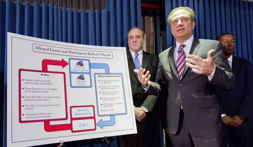 FILE- In this June 20, 2016 file photo, U. S. Attorney Preet Bharara, front right, gestures next to a chart during a news conference in New York, as he announces the arrest of four people in connection with New York City's ongoing corruption probe. A corruption probe at the New York Police Department has drawn attention to the lengths people will go to; prosecutors say even bribery, to get a pistol license in a city with some of the nation's toughest gun laws. (AP Photo/Mark Lennihan, File)