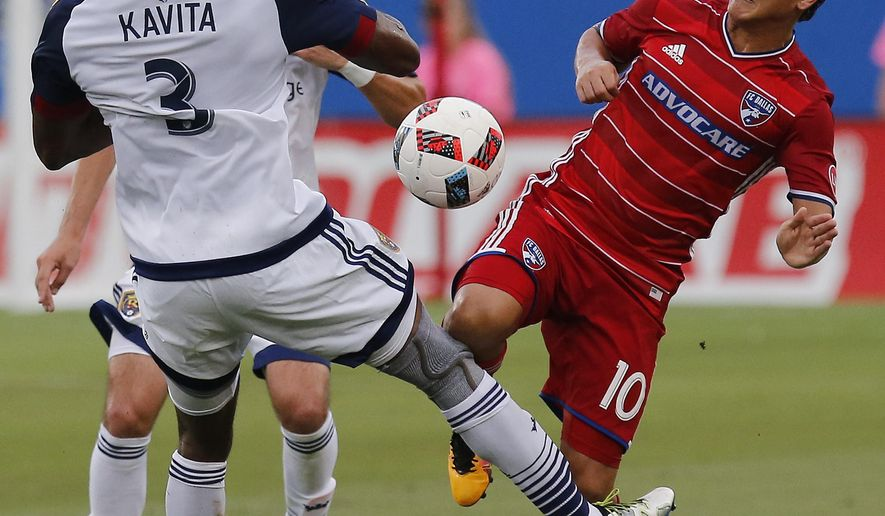 Real Salt Lake defender Phanuel Kavita (3) gets the shin of FC Dallas midfielder Mauro Diaz (10) during the first half of an MLS soccer game in Frisco, Texas, Saturday, June 25, 2016. (Stewart F. House/The Dallas Morning News via AP) MANDATORY CREDIT