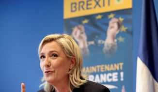 French far-right leader Marine Le Pen has proposed a similar referendum in her country. (Associated Press)