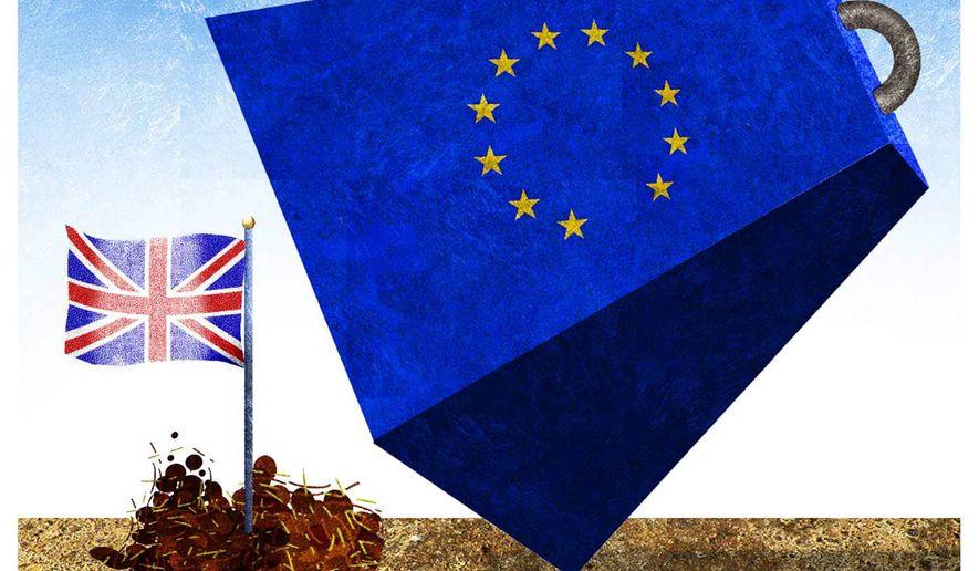 Illustration on the Brexit vote. (Alexander Hunter/The Washington Times)