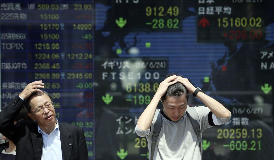 People stand in front of an electronic stock board of a securities firm in Tokyo, Monday, June 27, 2016. Japanese and Chinese stocks rose Monday but other Asian markets declined, crude prices fell further and U.S. shares appeared headed for a lower opening as jittery traders watched for more fallout from Britain's vote to exit the European Union. (AP Photo/Koji Sasahara)