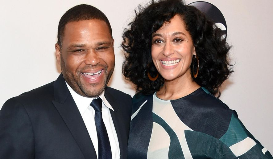 "FILE - In this May 17, 2016 file photo, actors Anthony Anderson and Tracee Ellis Ross, from the ABC comedy, ""black-ish,"" attend the ABC 2016 Network Upfront Presentation in New York. The pair return to co-host the BET Awards on Sunday, June 26. (Photo by Evan Agostini/Invision/AP, File)"