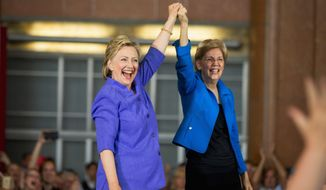 Sen. Elizabeth Warren, Massachusetts Democrat, joined likely Democratic presidential nominee Hillary Clinton on the campaign trail Tuesday. (Associated Press)