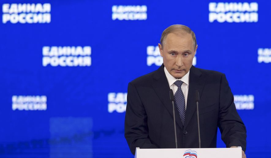 Russian President Vladimir Putin addresses the audience at the United Russia party congress which is being held three months ahead of parliamentary elections, in Moscow, Russia, Monday, June 27, 2016. (AP Photo/Ivan Sekretarev, Pool) ** FILE **