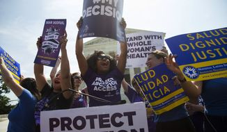Pro-choice activists celebrate during a rally at the Supreme Court in Washington, Monday, June 27, 2016, after the court struck down Texas' widely replicated regulation of abortion clinics. The justices voted 5-3 in favor of Texas clinics that had argued the regulations were a thinly veiled attempt to make it harder for women to get an abortion in the nation's second-most populous state. (AP Photo/Evan Vucci)