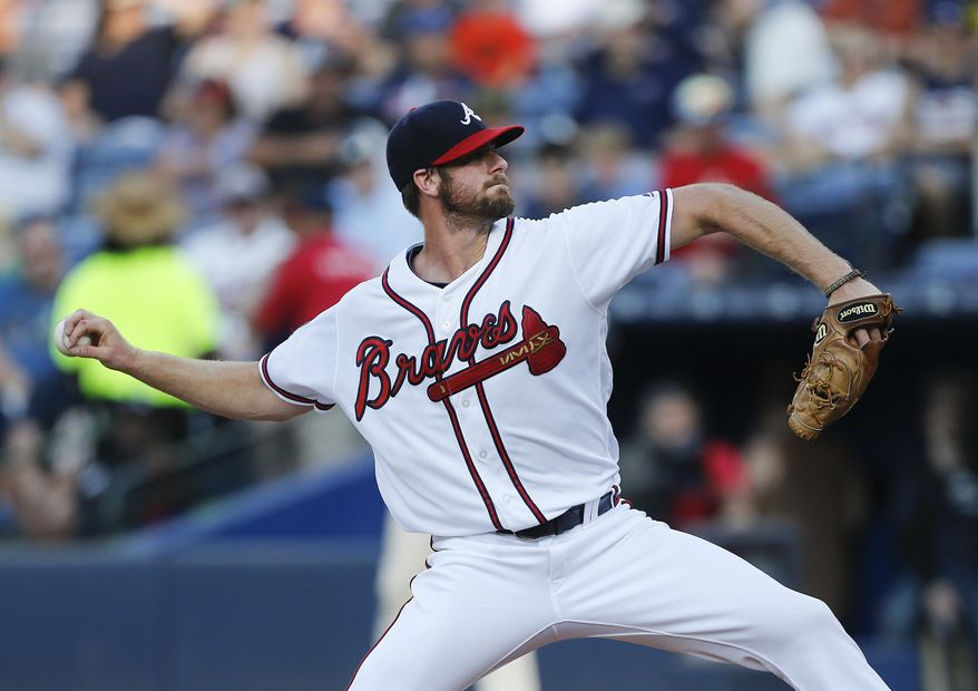 Atlanta Braves starting pitcher John Gant throws against the Cleveland Indians in the first inning of a baseball game Monday, June 27, 2016, in Atlanta. (AP Photo/John Bazemore)