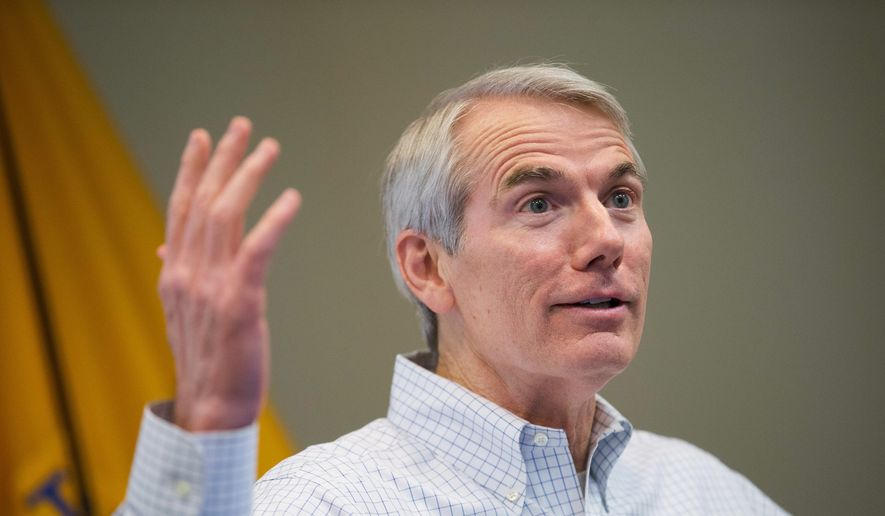 The pro-free trade stances of Sen. Rob Portman, Ohio Republican, may make his re-election this year all the more difficult. (Associated Press Photographs)