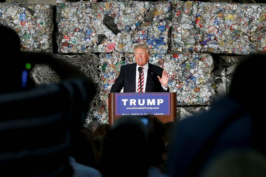 Republican presidential candidate Donald Trump makes a campaign stop Tuesday at a metals recycling facility in Pennsylvania, where he hopes his populist message against globalization resonates with voters. (Associated Press)