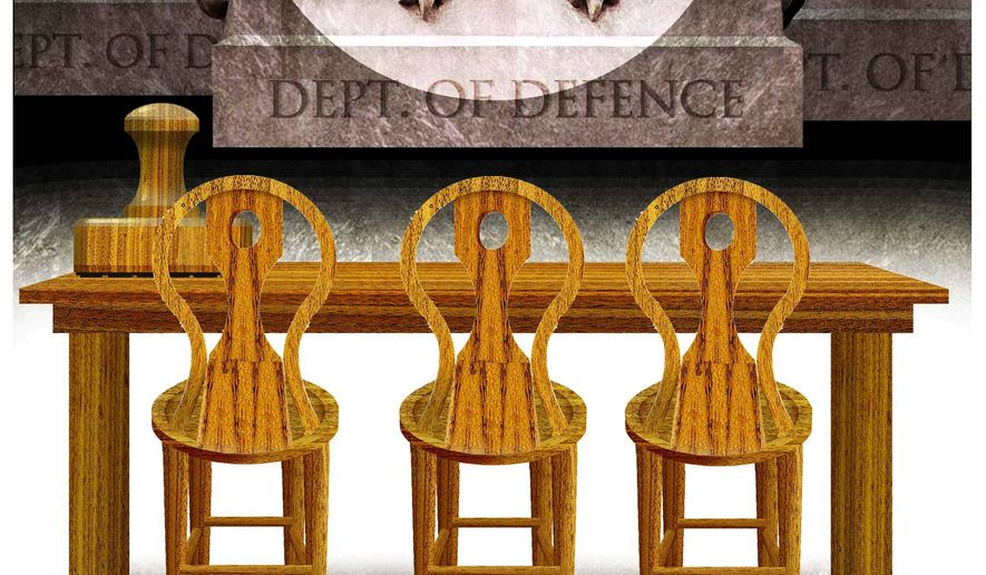 Illustration on a proposal to create boards of directors to oversee Executive branch departments by Alexander Hunter/The Washington Times