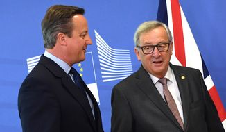European Commission President Jean-Claude Juncker, right, speaks with British Prime Minister David Cameron prior to a meeting at EU headquarters in Brussels on Tuesday, June 28, 2016. EU heads of state and government meet Tuesday and Wednesday in Brussels for the first time since Britain voted to leave the European Union, throwing British and European politics into disarray. (AP Photo/Geert Vanden Wijngaert)