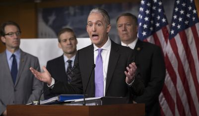 House Benghazi Committee Chairman Rep. Trey Gowdy, R-S.C., second from right, joined by other Republican members of the panel, discusses the release of his final report on the 2012 attacks on the U.S. consulate in Benghazi, Libya, where a violent mob killed four Americans, including Ambassador Christopher Stevens, Tuesday, June 28, 2016, during a news conference on Capitol Hill in Washington. From left are, Rep. Peter Roskam, R-Ill., Rep. Jim Jordan, R-Ohio, Gowdy, and Rep. Mike Pompeo, R-Kan. (AP Photo/J. Scott Applewhite)