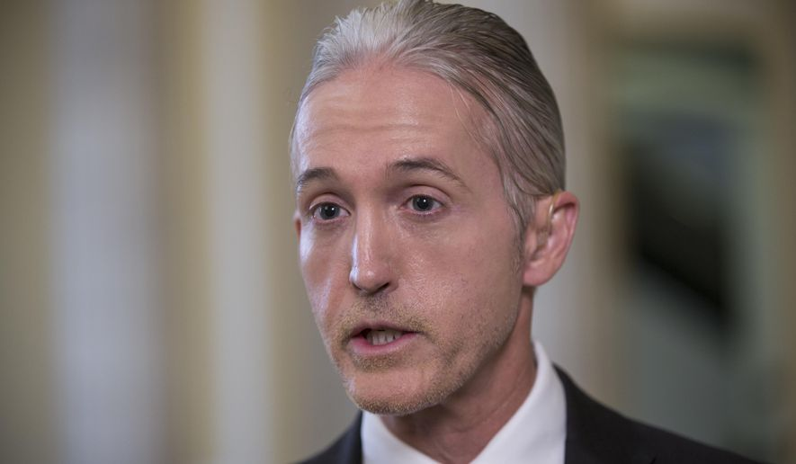House Benghazi Committee Chairman Rep. Trey Gowdy, R-S.C., speaks during a TV news interview with MSNBC, on Capitol Hill in Washington, Tuesday, June 28, 2016, to discuss the release of his final report on the 2012 attacks on the U.S. consulate in Benghazi, Libya, where a violent mob killed four Americans, including Ambassador Christopher Stevens. (AP Photo/J. Scott Applewhite)