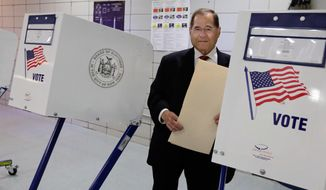 U.S. Rep. Jerrold Nadler, D-NY, carries his ballot after voting at his polling place on New York's Upper West Side, Tuesday, June 28, 2016. (AP Photo/Richard Drew)