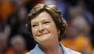 In this Jan. 28, 2013, file photo, former Tennessee women's basketball coach Pat Summitt smiles as a banner is raised in her honor before the team's NCAA college basketball game against Notre Dame in Knoxville, Tenn. Summitt, the winningest coach in Division I college basketball history who boosted women's game, has died at 64. (AP Photo/Wade Payne, File)
