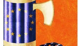 Illustration on the British exit from the EU by Alexander Hunter/The Washington Times