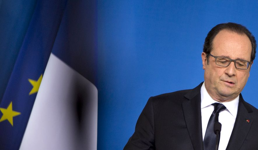 French President Francois Hollande speaks during a media conference at the end of an EU summit in Brussels on Wednesday, June 29, 2016. European Union leaders are meeting without Britain for the first time since the British referendum to rethink their bloc and keep it from disintegrating after Britain's unprecedented vote to leave. (Virginia Mayo)