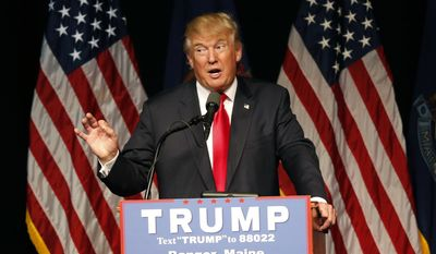 Republican presidential candidate Donald Trump speaks at a rally, Wednesday, June 29, 2016, in Bangor, Maine.(AP Photo/Robert F. Bukaty)