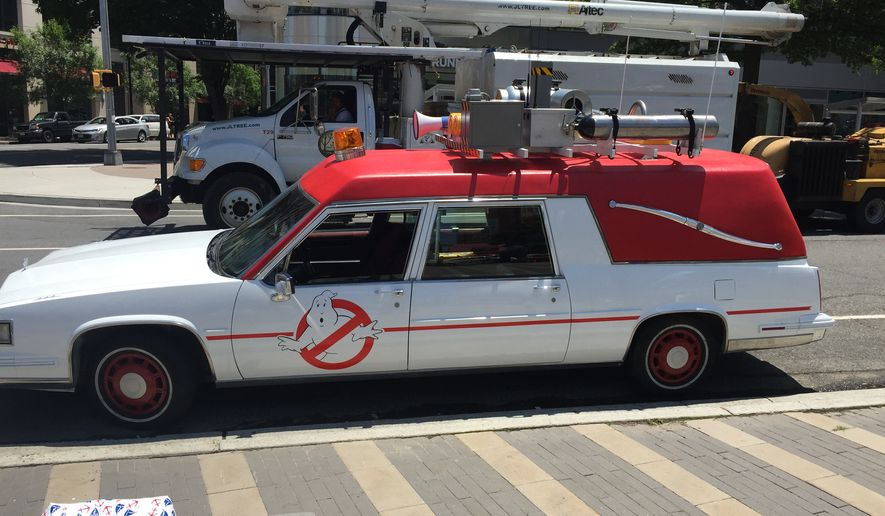 ECTO-1 parked in front of the Clarendon Metro station in Arlington, Virginia, Wednesday.  (Eric Althoff)
