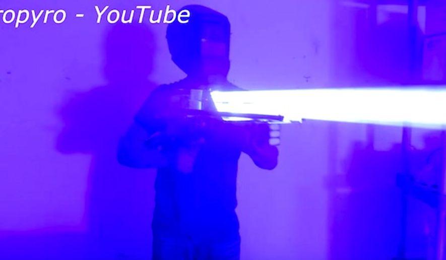 "YouTube star Drake Antony has created a ""laser bazooka"" that Gizmodo deemed a ""handheld Death Star."" (YouTube, Styropyro)"