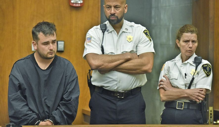 Patrick Riccardi-O'Connor, left, of Stoneham, Mass., stands during arraignment Wednesday, June 29, 2016, in Woburn, Mass., District Court, on charges he fatally shot his firefighter friend David Atherton while playing with a handgun Tuesday night. Riccardi-O'Connor pleaded not guilty. (Patrick Whittemore/Boston Herald, Pool)