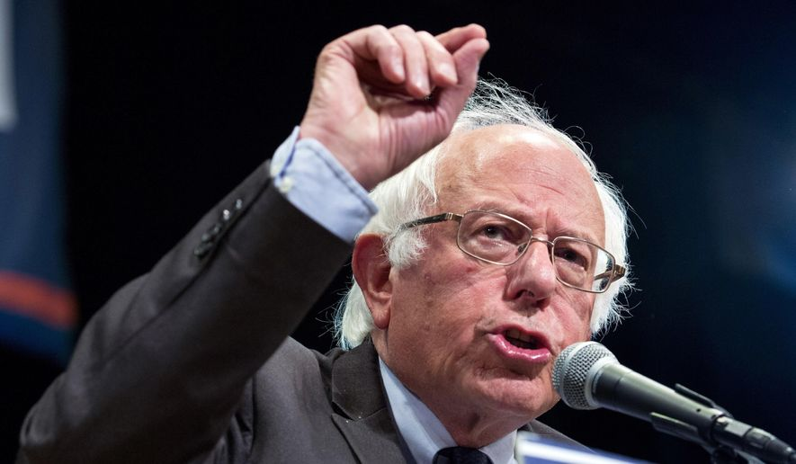 This June 23, 2016, file photo shows Democratic presidential candidate Sen. Bernie Sanders, I-Vt., addressing supporters in New York. (AP Photo/Craig Ruttle, File)