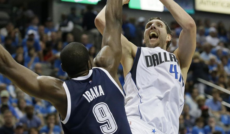 FILE - In this April 23, 2016, file photo, Dallas Mavericks forward Dirk Nowitzki (41) shoots against Oklahoma City Thunder forward Serge Ibaka (9) during the second half in Game 4 of a first-round NBA basketball playoff series, in Dallas. Nowitzki opted out of his contract with the Mavericks but is expected to return for a 19th season in Dallas. For the fifth straight year, the big German is likely to be surrounded by a new batch of starters as the Mavericks again try to revamp their roster in free agency.(AP Photo/LM Otero, FIle)