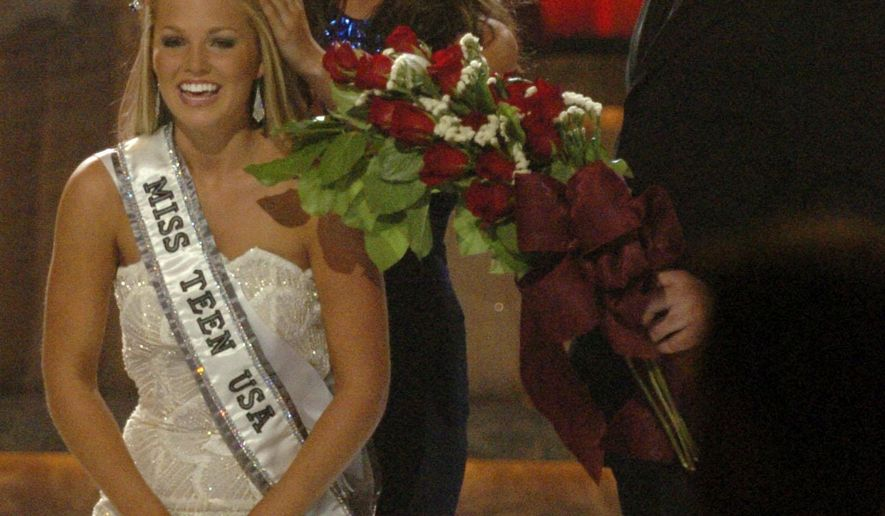 File-This Aug. 8, 2005, file photo shows Miss Ohio Teen USA ,Allie Leigh LaForce, left, getting crowned by Miss Teen USA 2004 Shelly Hennig, center , as Scott Grossman, right, brings flowers during the 2005 Miss Teen USA pageant in Baton Rouge, La. The Miss Teen USA pageant is dropping the swimsuit portion of its competition. The Miss Universe organization announced Wednesday, June 29, 2016, that the pageant will replace the bathing suit section with an athletic wear competition. The 2016 Miss Teen USA pageant will be held in Las Vegas on July 30. (Mark Saltz/The Advocate via AP)