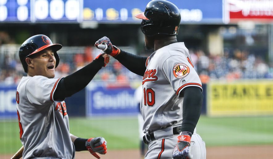Baltimore Orioles' Adam Jones, right, celebrates with Manny Machado after a home run against the against the San Diego Padres in the first inning of a baseball game Tuesday, June 28, 2016, in San Diego. (AP Photo/Lenny Ignelzi)