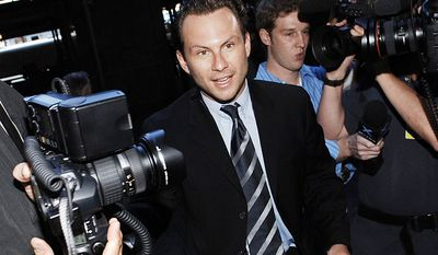 Christian Slater - In 1989, Slater was arrested for drunk driving and assault. He was sentenced to 10 days in jail. He was arrested in 1994 when he tried to board a commercial plane with a gun in his luggage. He was sentenced to community service. Slater was convicted of assaulting his then-girlfriend, Michelle Jonas, and a police officer while under the influence of drugs and alcohol in 1997. He spent over 100 days in a rehabilitation facility while out on bail and then was sentenced to a three-month term in jail followed by three months in a residential rehab center. (AP Photo/Louis Lanzano)