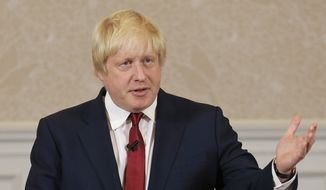 Former London mayor Boris Johnson announces that he will not run for leadership of Britain's ruling Conservative Party in London, Thursday, June 30, 2016. (AP Photo/Matt Dunham)